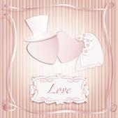 Romantic vintage style wedding invitation post card — Stock Vector