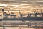 Hamburg harbor in sunrise — Stock Photo