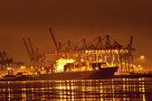 Hamburg harbor at night — Stock Photo