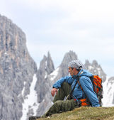 Hiker at the mountains — Stock Photo