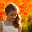 Girl with poppies  — Stock Photo