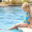 Girl near the open-air swimming pool — Foto de Stock