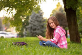 Girl at the grass — Stock Photo