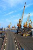 Seaport cranes — Stock Photo