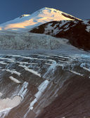 Panorama of morning Elbrus with glacier — Stock Photo