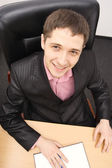 Fun portrait young businessman — Stock Photo