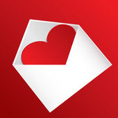 Heart at envelope — Vettoriale Stock
