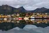 Norwegian fisherman village Husoy — Stock Photo