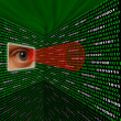 Stock Photo: Spyware eye scanning binary code with red sightline