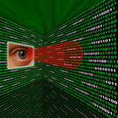 Spyware eye scanning binary code with red sightline — Stock Photo