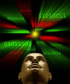 Artifical intelligence as symbolized by binary code flying towar — Stock Photo