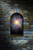 Magical vortex in a stone arch doorway — Stock Photo