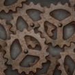 Distressed interlocking gears — Foto Stock #18099081