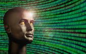 Modellkopf überwachung binärcode — Stockfoto