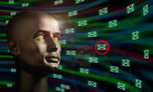 Mannequin head monitoring e-mail messages in cyberspace — Stock Photo
