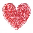 Red and Pink Scribbled Heart — Stockfoto