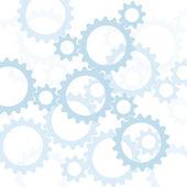 синий шестерни, silhouetted против белый — Стоковое фото