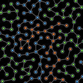 Network of color nodes against black — Stock Photo