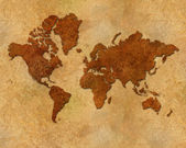 Distressed metallic global map — Stock Photo