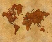 Distressed metallic global map — Stock Photo