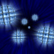 Stock Photo: Spheres with video screens showing eyes in vortex