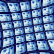 Stock Photo: Distorted blue video screens showing face of baby