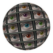 Sphere of screens with multi-colored eyes — Stock Photo