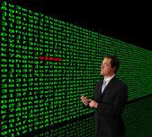 Man detecting computer virus in a firewall of machine code — Stock Photo