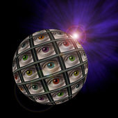 Sphere of video screens showing multi-colored eyes — Stock Photo