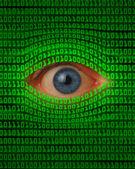 Oko prohlížení pomocí binárního kódu — Stock fotografie