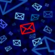 Email icon targeted by electronic surveillance in cyberspace — Stock Photo