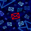Stockfoto: Email icon targeted by electronic surveillance in cyberspace