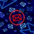 Foto Stock: Email icon targeted by electronic surveillance in cyberspace
