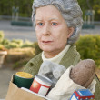"Sculpture of an elderly woman called ""Holding Out"" by J. Seward — Stock Photo"
