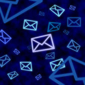 Email message icons floating in blue cyberspace — Stock Photo
