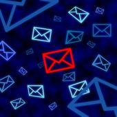икона электронной почты, мишенью для электронного наблюдения в киберпространстве — Стоковое фото