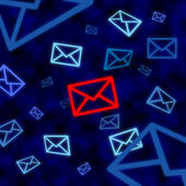 Email icon targeted by electronic surveillance in cyberspace — Foto Stock