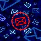 Correo electrónico icono blanco de vigilancia electrónica en el ciberespacio — Foto de Stock