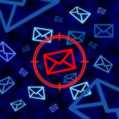 Email icon targeted by electronic surveillance in cyberspace — Stockfoto