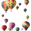 Hot-air balloons arranged around edge of frame allowing space fo — Stock Photo