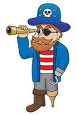 Cartoon illustration of pirate looking through a spyglass — Stock Photo