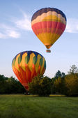 Two hot-air balloons taking off or landing — Stock Photo