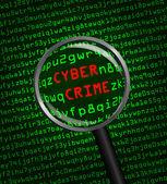 Cyber-kriminalität aufgedeckt in computer-maschinen-code durch eine magnifyi — Stockfoto