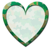 Green camouflage heart — Stock Photo