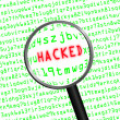 "Red word ""HACKED"" revealed in green computer code through a magn — Stock Photo #47956685"