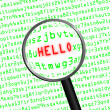 """HELLO"" revealed in computer code through a magnifying glass — Stock Photo #47957081"