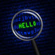 """HELLO"" revealed in computer code through a magnifying glass — Stock Photo #47957105"