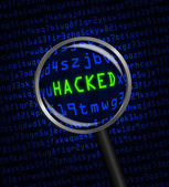 "Blue word ""HACKED"" revealed in green computer code through a mag — Stock Photo"