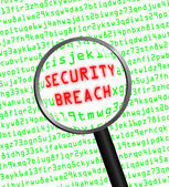 "Red ""SECURITY BREACH"" revealed in green computer code through a — Stock Photo"