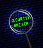 SECURITY BREACH in green revealed in blue computer code through — Stock Photo